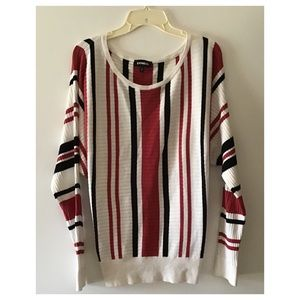 Sweater▪️Striped Black Red Dolman Sleeve Pullover